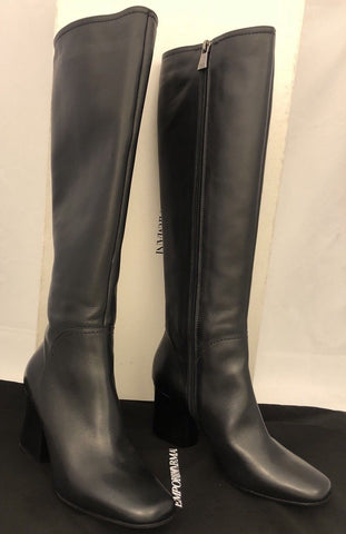 NIB $925 Emporio Armani Women's Black Leather Knee High Boots 37 Eu X30135 Italy - BAYSUPERSTORE