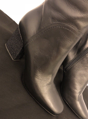 NIB $925 Emporio Armani Women's Black Leather Knee High Boots 39 Eu IT X30135 - BAYSUPERSTORE