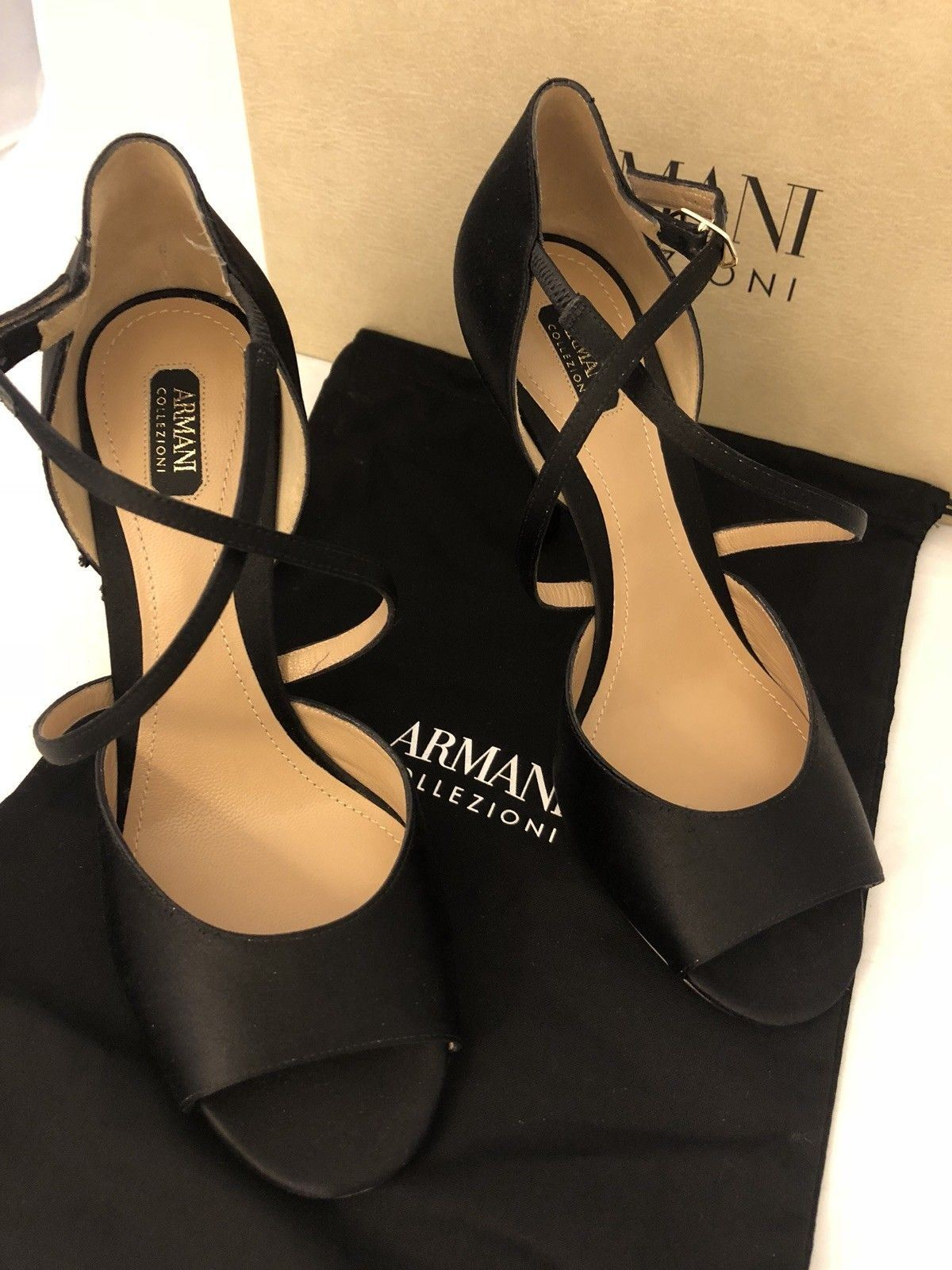 NIB $995 Armani Collezioni Women's High Heel Suede Dress Shoes 7.5 US X5P022 IT - BAYSUPERSTORE