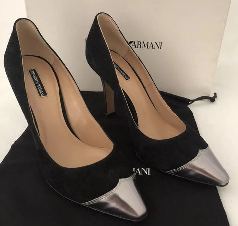 NIB $545 Emporio Armani Women's High Heel Suede Dress Shoes 36.5 US X3E271 Italy - BAYSUPERSTORE