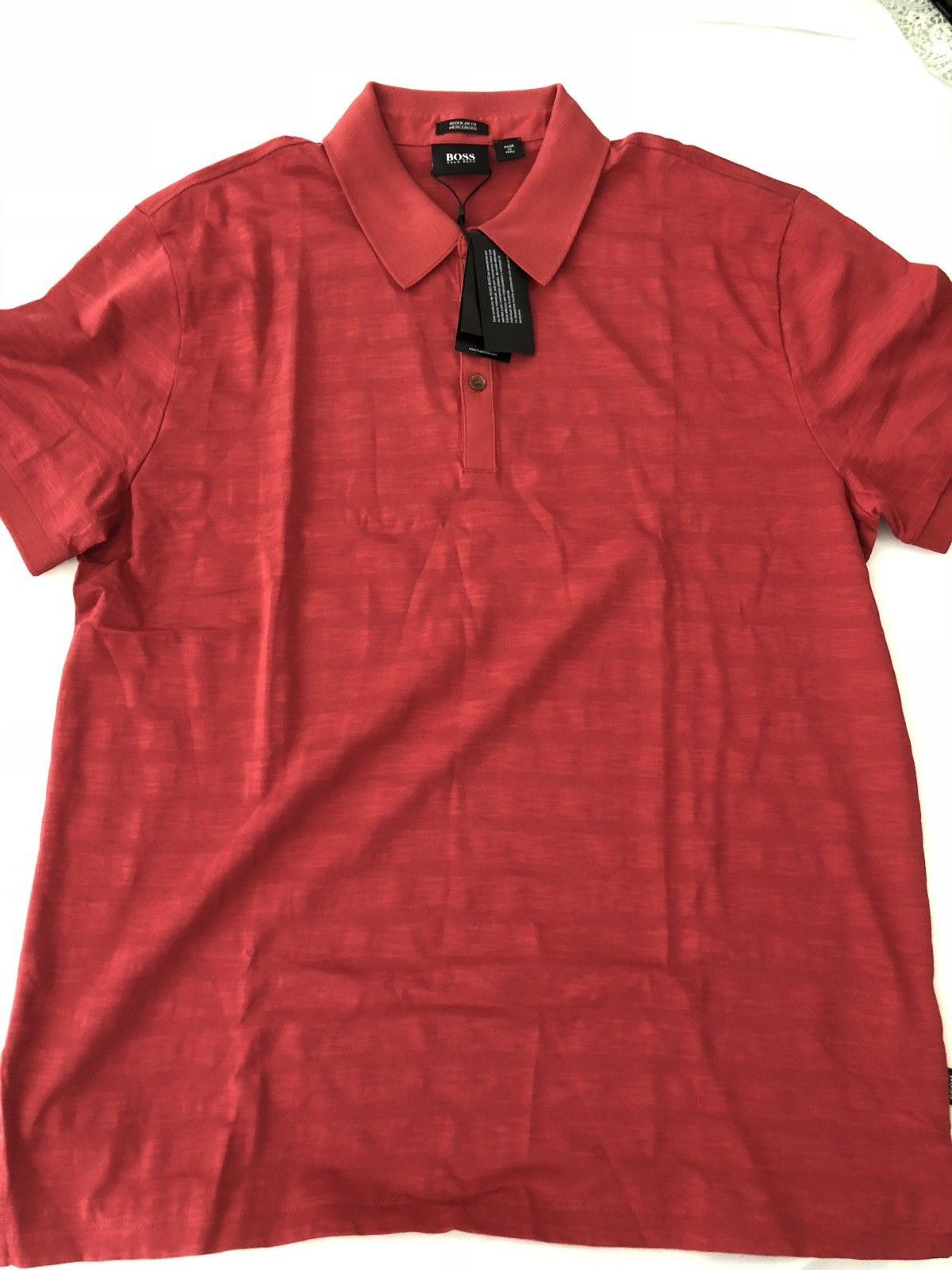 NWT $185 BOSS Hugo Boss Genova 24 Regular Fit Polo Shirt Red XL