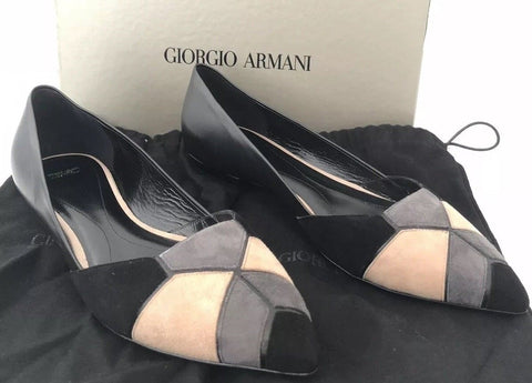 NIB $795 Giorgio Armani Leather Women's Black Flat Shoes 8 US X1D206 Italy