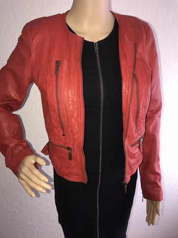 Michael Kors $495 Cherry Red Lamb Leather Moto Biker Jacket Size S