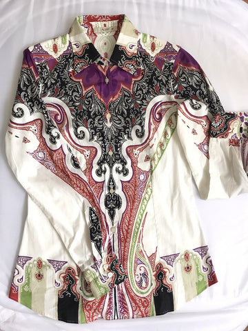 ETRO Paisley Print Button Front Cotton Shirt Women's size 38