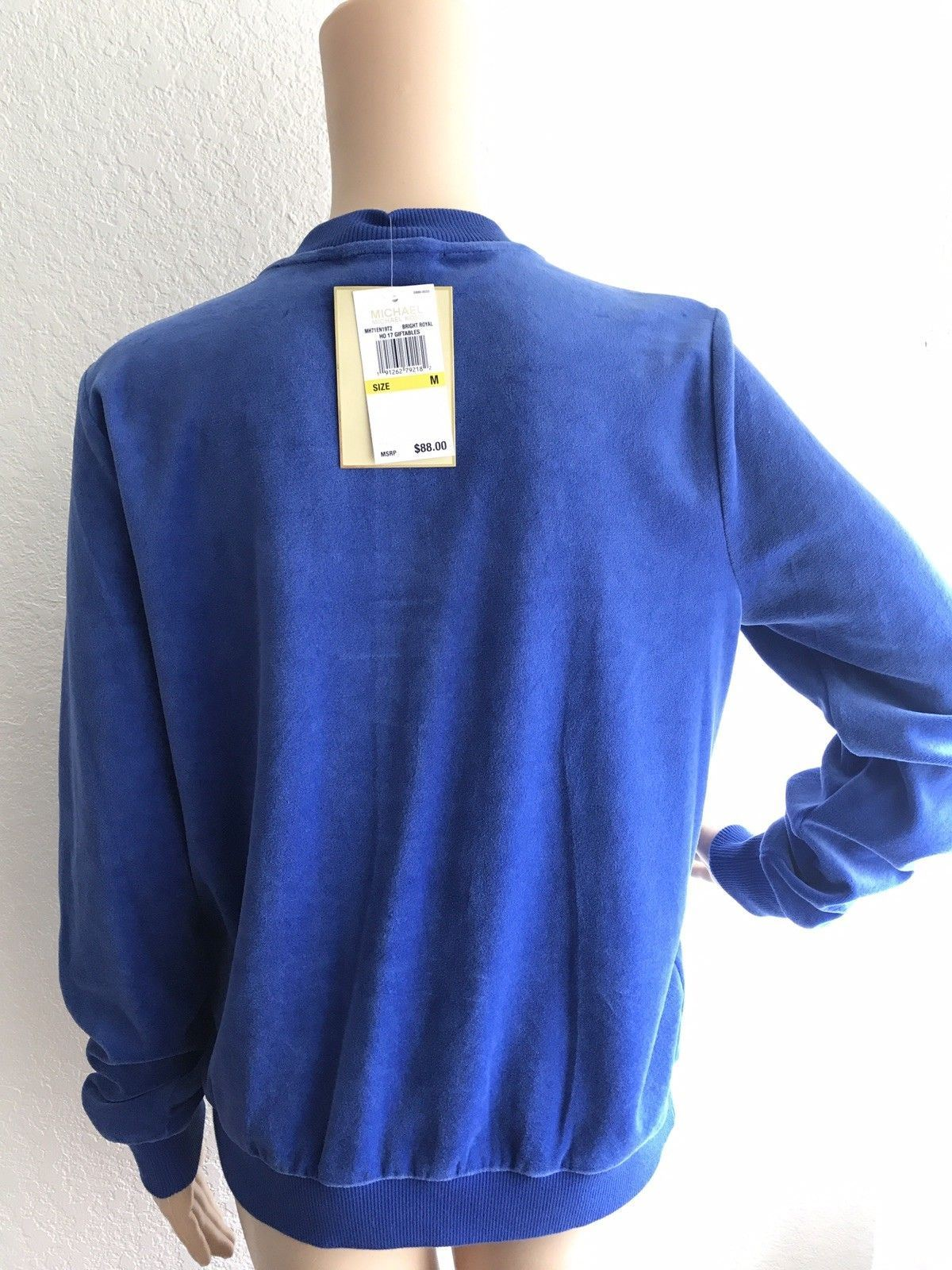 NWT $88 MICHAEL KORS Bright Royal Zip Silver Velour Bomber Track Jacket Size M
