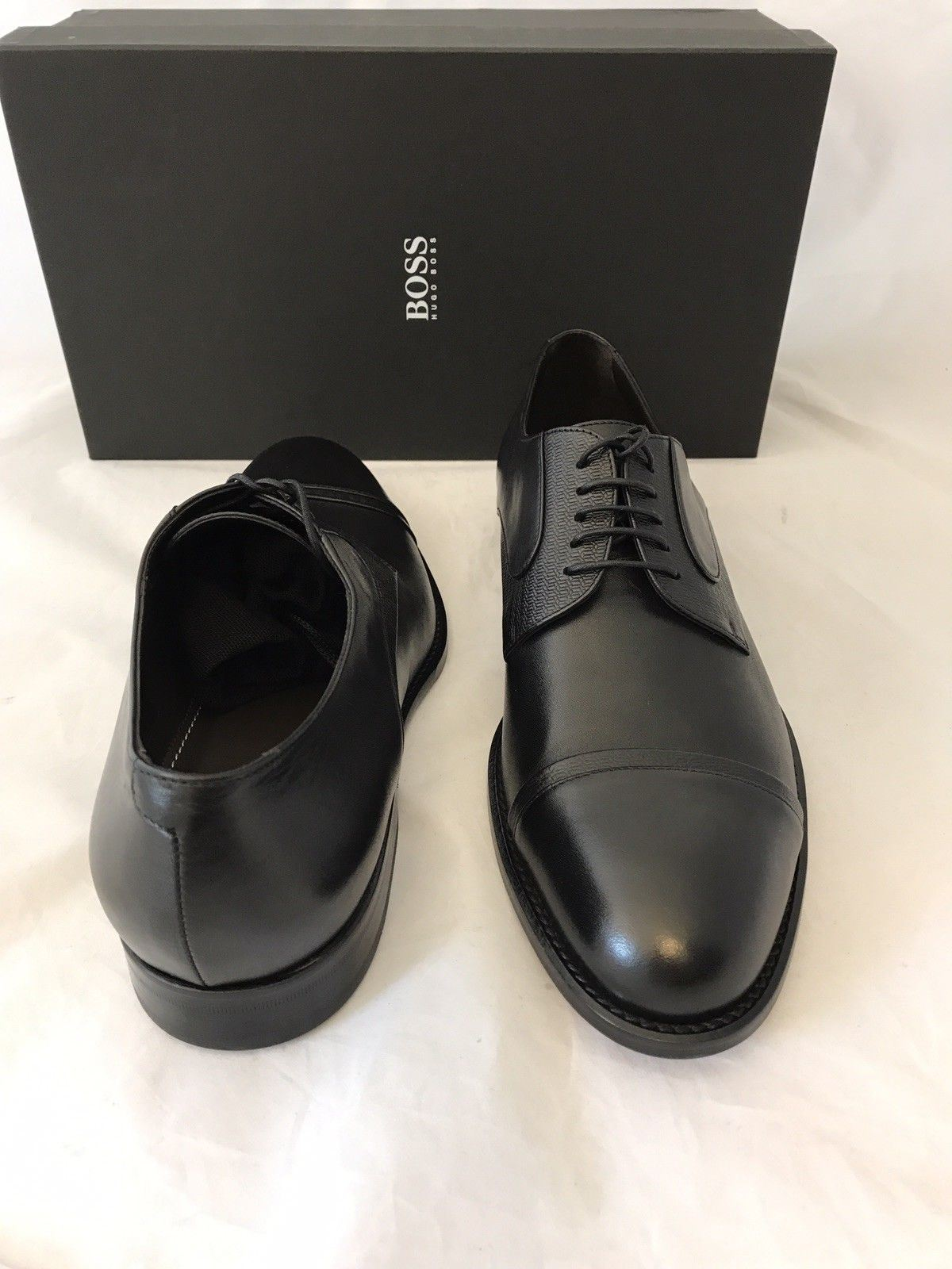 NIB $415 Boss Hugo Boss Manhattan Derb Men's Leather Dress Shoes Black 9 US
