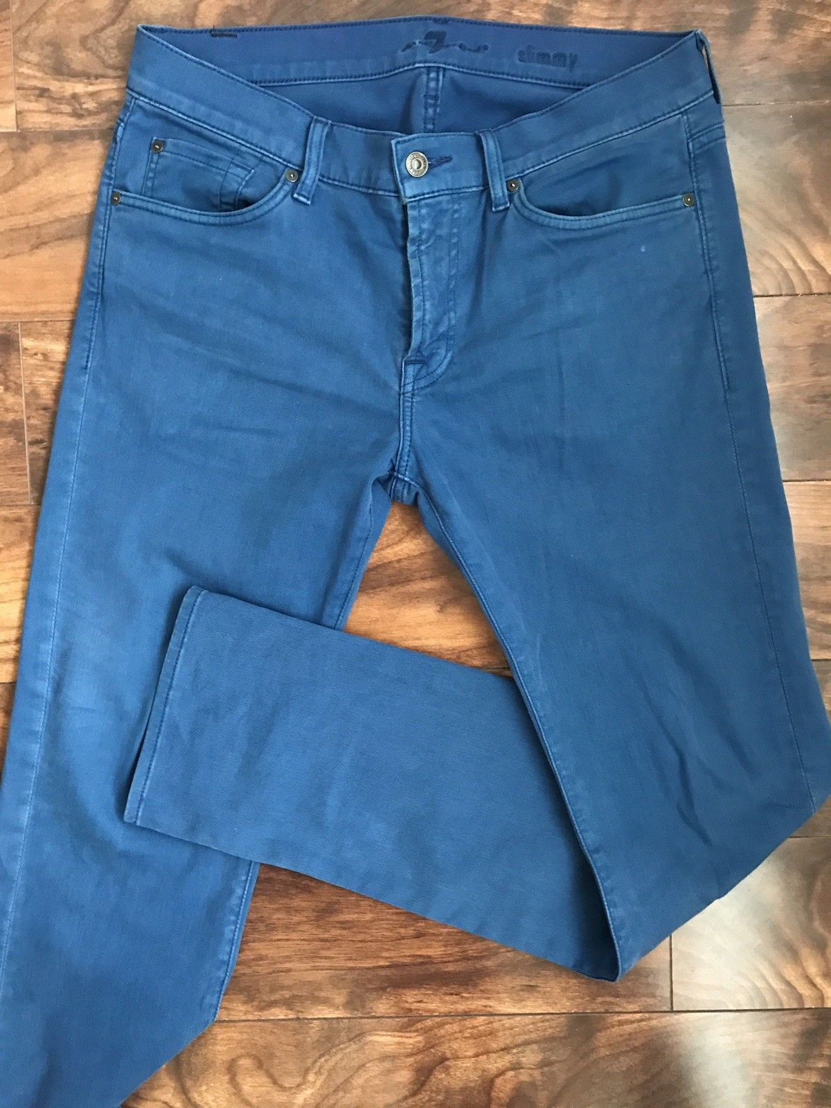For All 7 Mankind Cotton Mens Regular Fit Blue Jeans Size 32 US