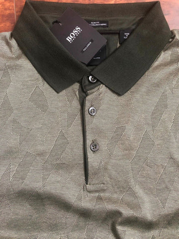 NWT $235 BOSS Hugo Boss T-Peterson Slim Fit Tailored Polo Shirt 2XL Green