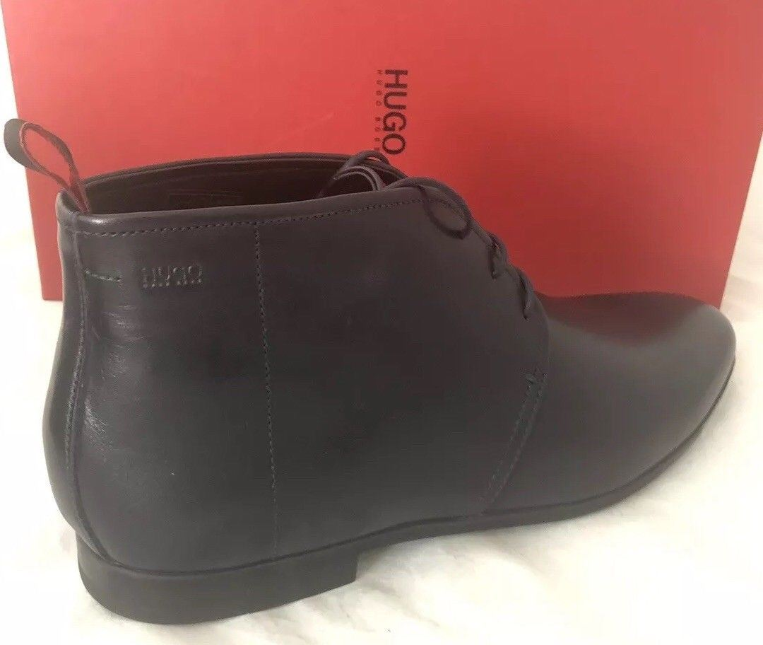 NIB $275 Boss Hugo Boss Leather Men's Pariss_Desb_3lt Boots 9 US Dark Blue