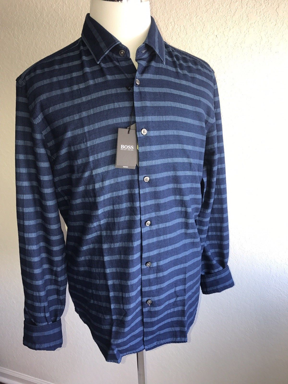 NWT $135 BOSS Hugo Boss Mens Modern Blue Regular Fit Dress Shirt XL