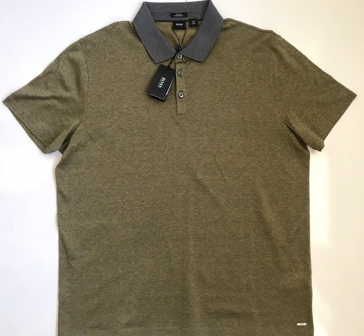 NWT $165 BOSS Hugo Boss Platt Slim Fit Mercerised Polo Shirt 2XL Green