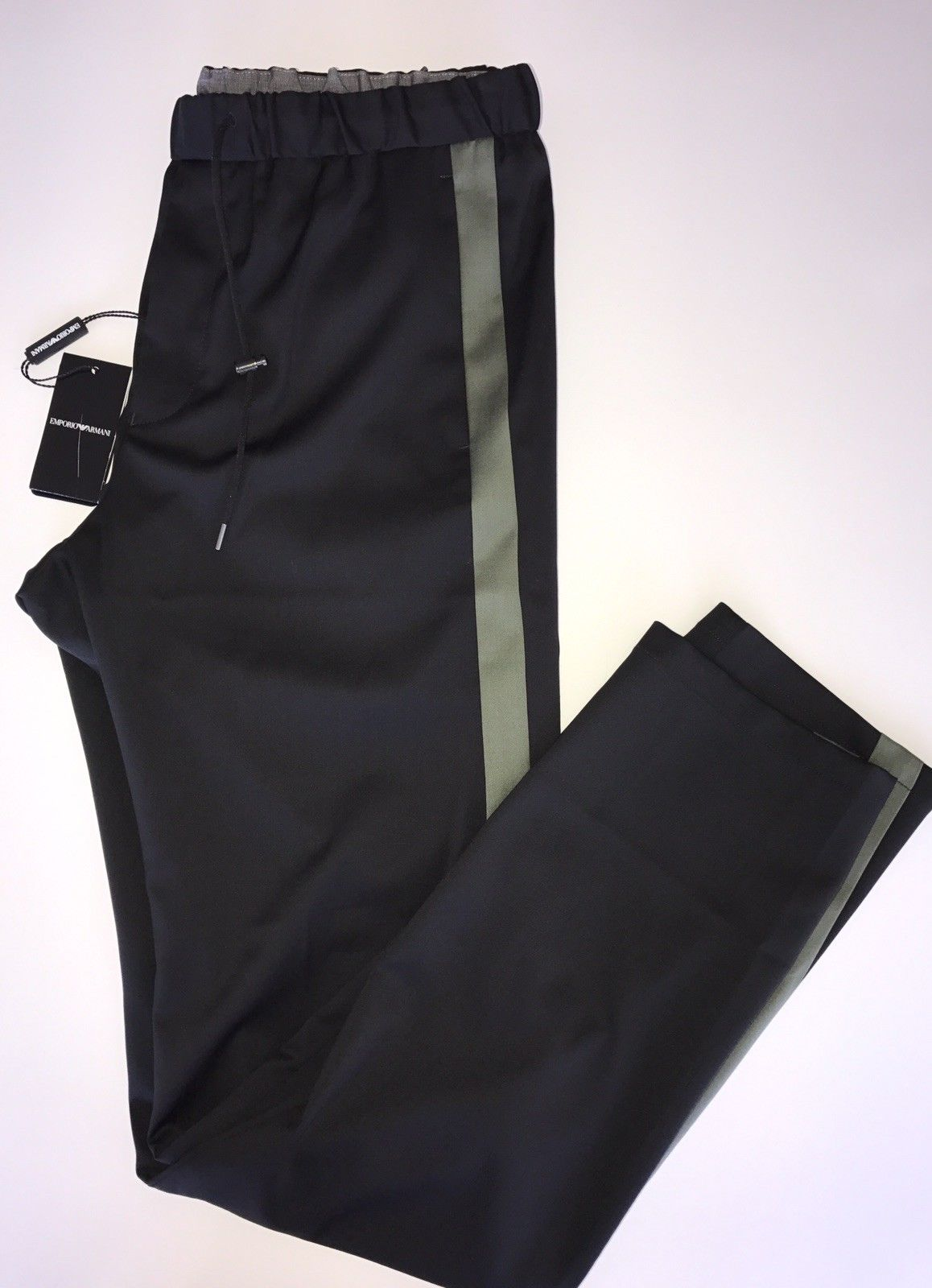 New $525 Emporio Armani Black Mens Wool Casual Pants Size 34 (50 Eu)V1P710 Italy