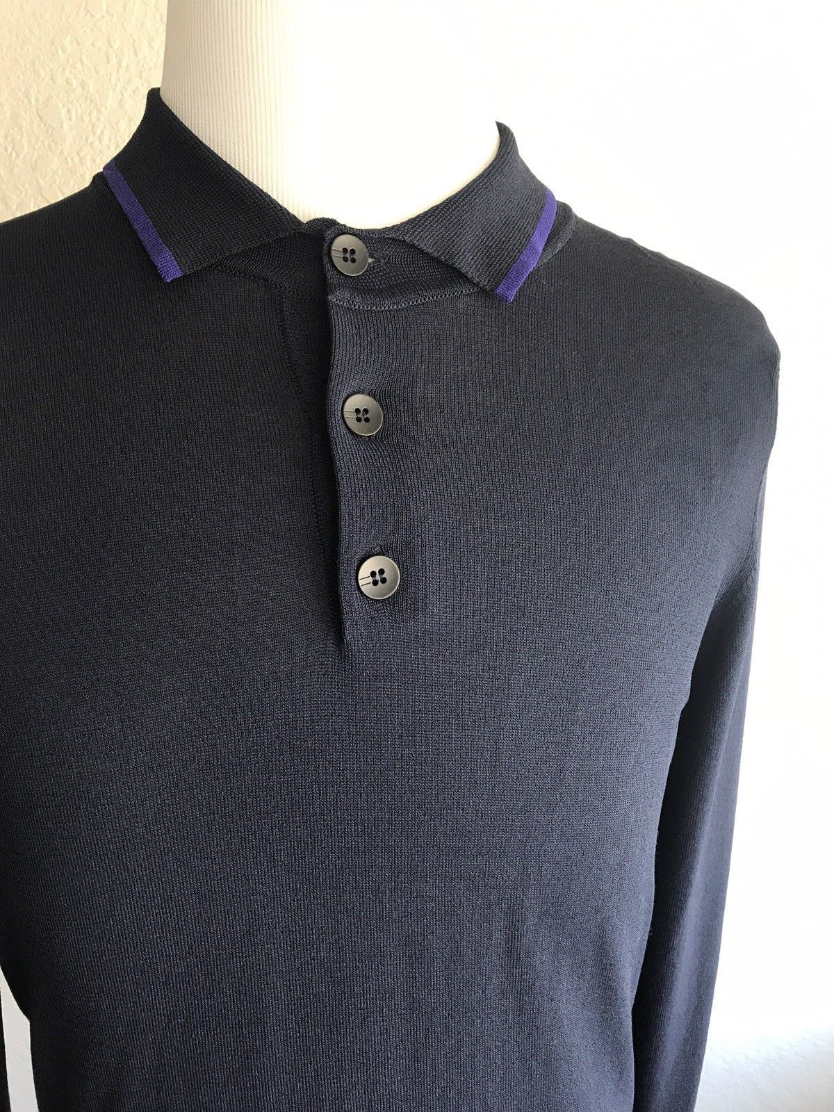 NWT $495 Armani Collezioni Blue Knit Polo Long Sleeve Sweater S (50 EU) 3YCF01