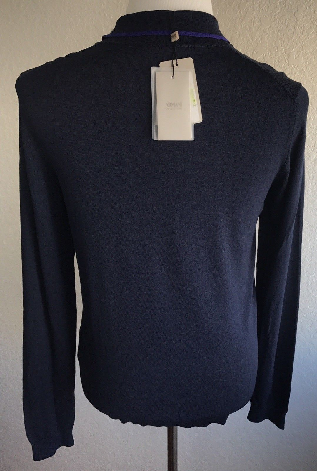 27327945b NWT $495 Armani Collezioni Blue Knit Polo Long Sleeve Sweater XL (56 EU)  3YCF01