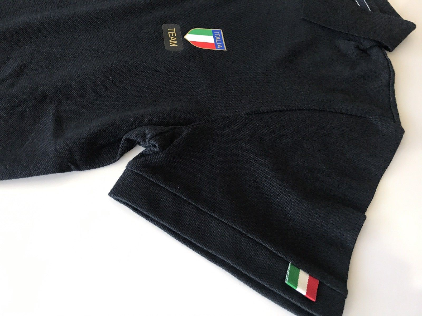 NWT $175 Emporio Armani Black Short Sleeve Italia Team Polo Shirt 277015
