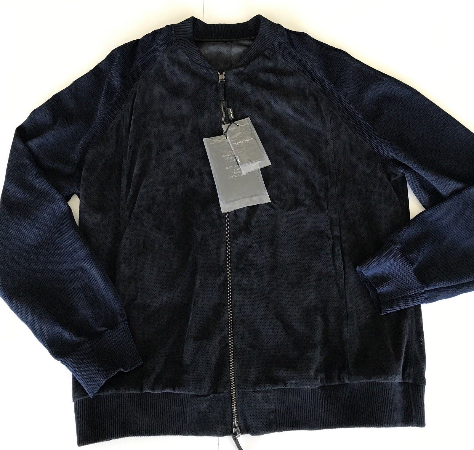 NWT $2595 Giorgio Armani  Men's Blouson Lamb Leather Jacket Blue 56 Euro VSP83