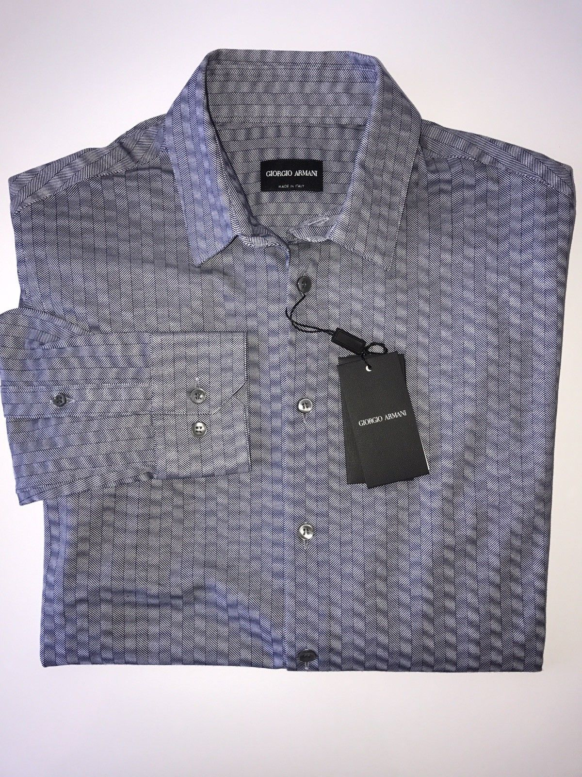 NWT $695 Giorgio Armani Italian Necked Mens Cotton Blue Dress Shirt 42 EU VSC97T