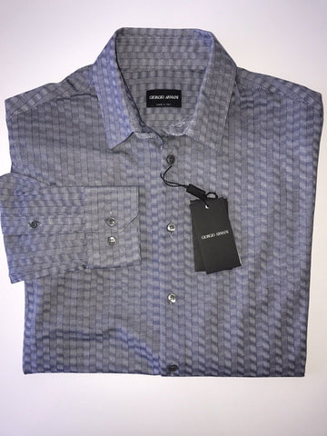 NWT $695 Giorgio Armani Italian Necked Mens Cotton Blue Dress Shirt 45 EU VSC97T