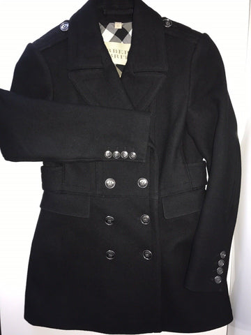 $795 Burberry Brit Double-Breasted Wool -Blend Black Coat 6 USA (40 EU )