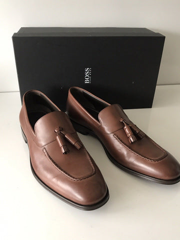 NIB $475 Boss Hugo Boss Scaltos Mens Leather Penny Loafer Shoes Brown 9.5 US IT