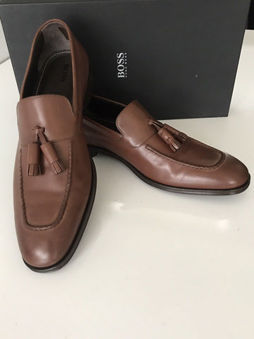 NIB $475 Boss Hugo Boss Scaltos Mens Leather Penny Loafer Shoes Brown 10.5 US IT