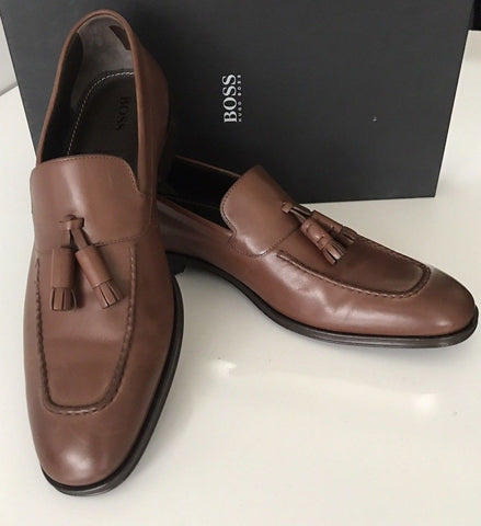 NIB $475 Boss Hugo Boss Scaltos Mens Leather Penny Loafer Shoes Brown 9 US IT