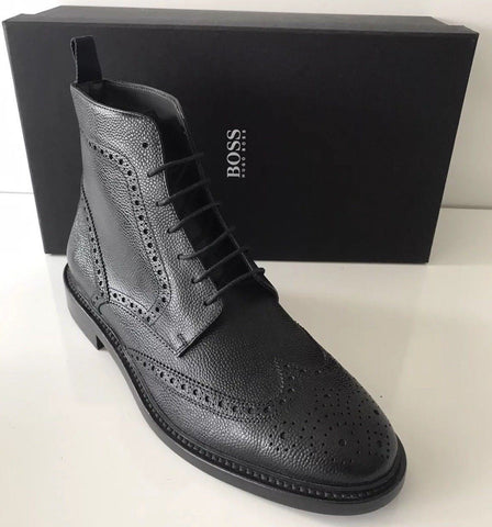 NIB $525 Boss Hugo Boss Leather Men's Kennon Black Boots 10 US Made in Italy
