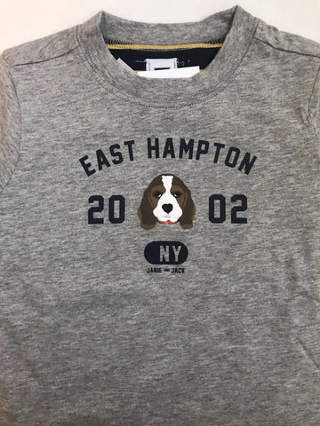 NWT $34 Janie and Jack boys Reversible East Hampton Dog Gray tee Size18 to 24