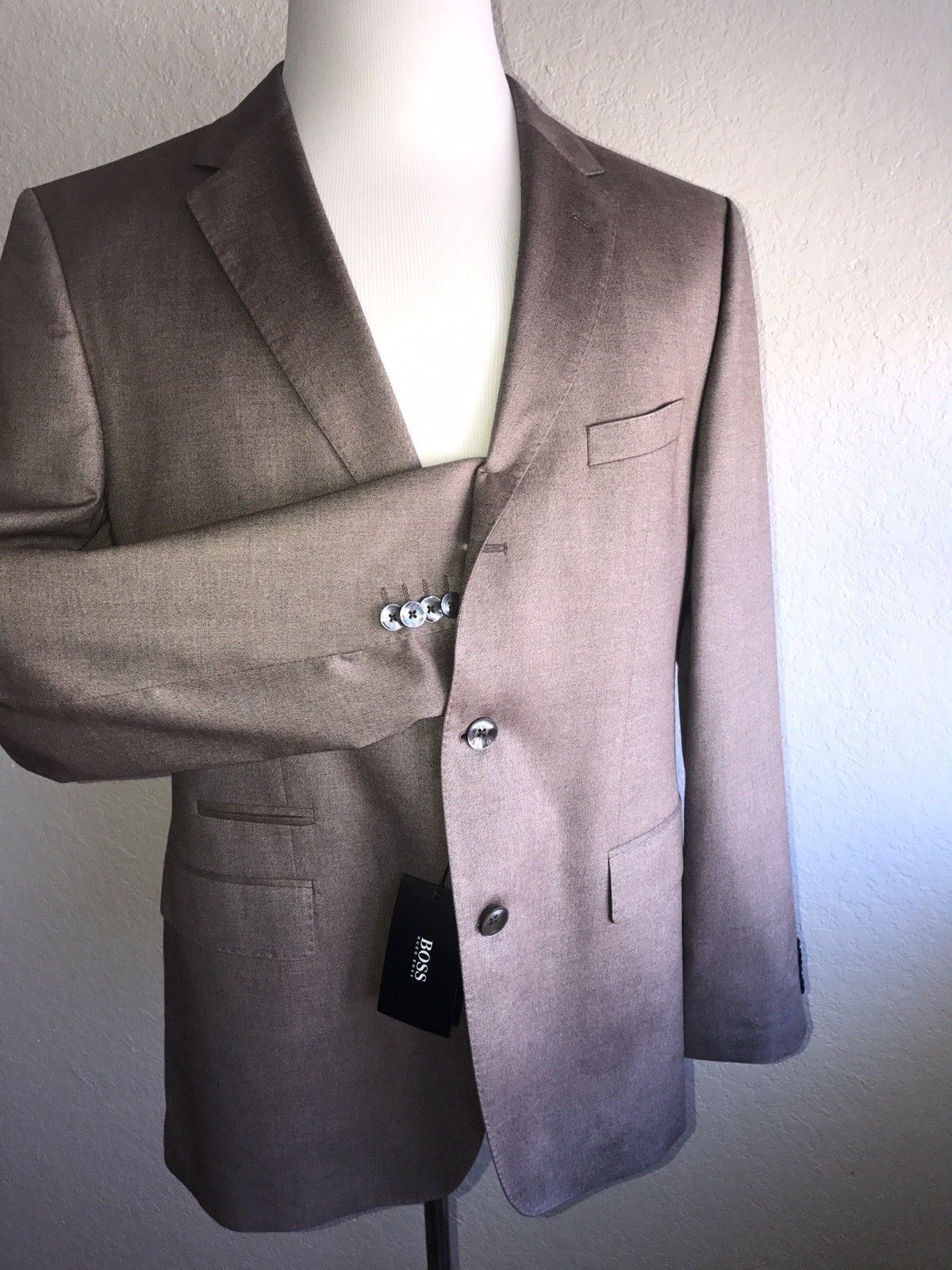 NWT $995 Boss Hugo Boss Johnston2 Silk Sport Coat Jacket Brown 42R US (52 Eu)