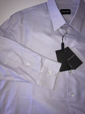 NWT $495 Giorgio Armani Manica Lunga Mens Cotton Blue Dress Shirt 43 EU Italy