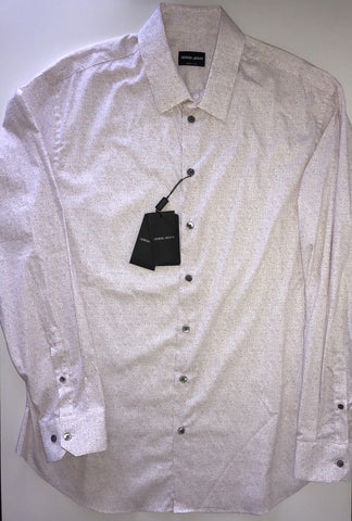 NWT $695 Giorgio Armani Italian Necked Mens Cotton Dress Shirt 45 EU Italy