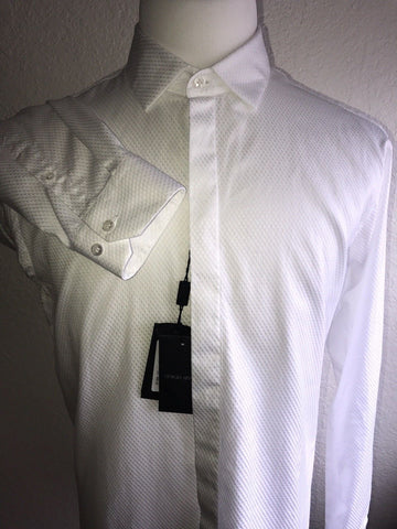 NWT $595 Giorgio Armani Italian-Necked Mens Cotton White Dress Shirt 43 EU Italy
