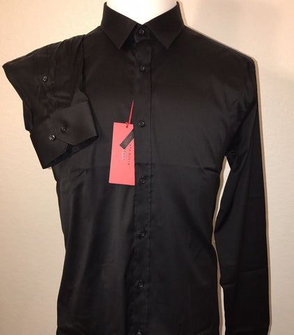NWT $205 BOSS Hugo Boss Mens Elisha Slim Fit Stretch Black Dress Shirt Size XL