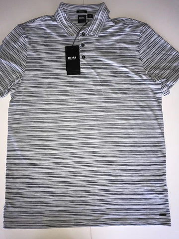 NWT $118 BOSS Hugo Boss Short Sleeve Regular Fit Striped Polo Shirt XL