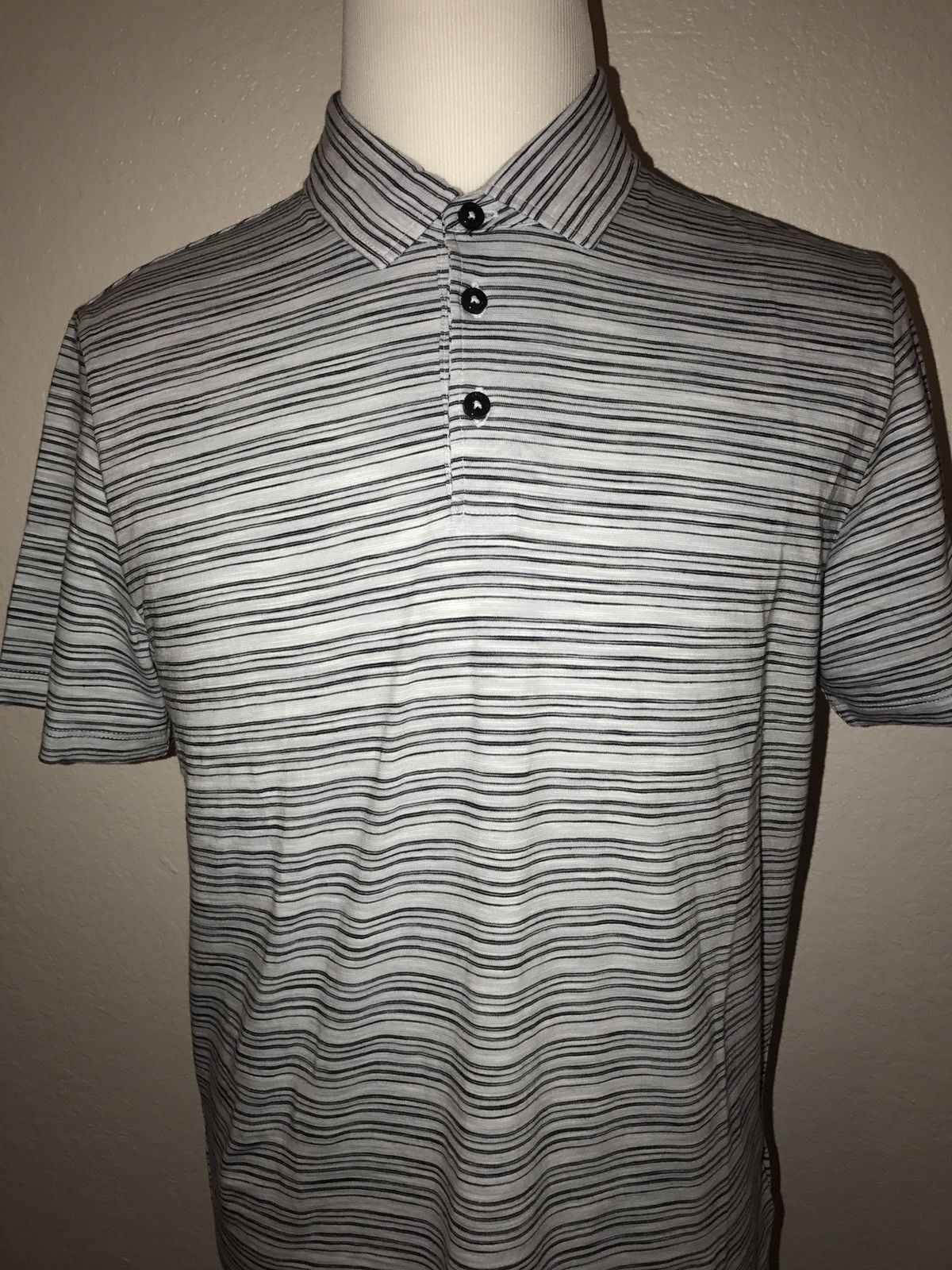 New $118 BOSS Hugo Boss Short Sleeve Regular Fit Striped Polo Shirt L