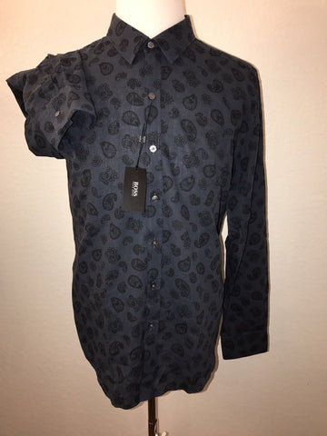 NWT $175 BOSS Hugo Boss Black Label Mens Sharp Fit Linen Cotton Dress Shirt XL