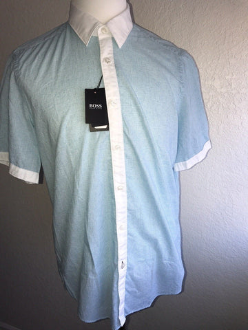 NWT $135 BOSS Hugo Boss Mens Regular Fit Short Sleeve Pastel Blue Dress Shirt L