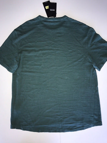 NWT $98 BOSS HUGO BOSS Short Sleeve Round Neck Dark Green Cotton T-Shirt Size M