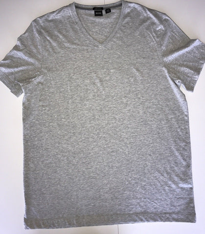 New $65 BOSS HUGO BOSS  Short Sleeve V Neck Gray T-Shirt 2XL