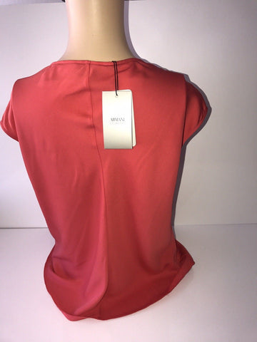 NWT $595 Armani Collezioni Women's Silk Draped Neck Red Top Size 10 US