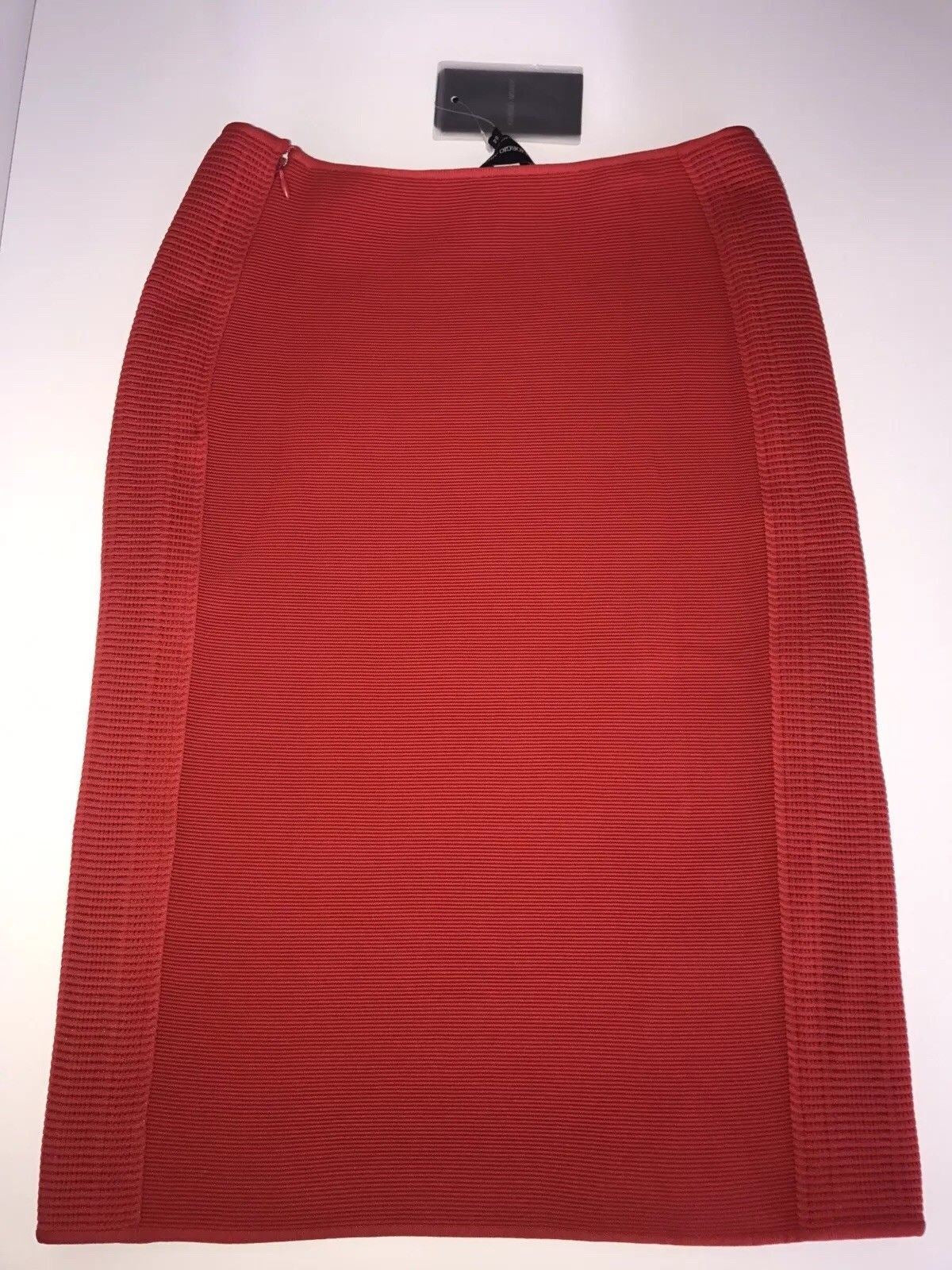 NWT $1475 Giorgio Armani Women's  Red Pencil Skirt Size 44 Made in Italy