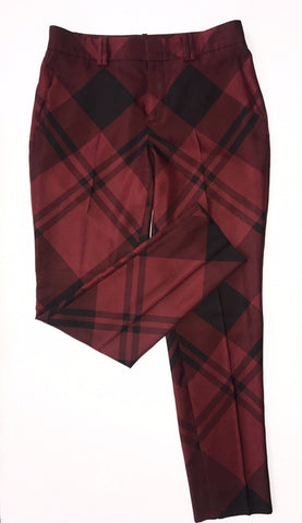 $1100 Gucci Women's Burgundy Check Print Silk Pant Size 40 EU Made in Italy