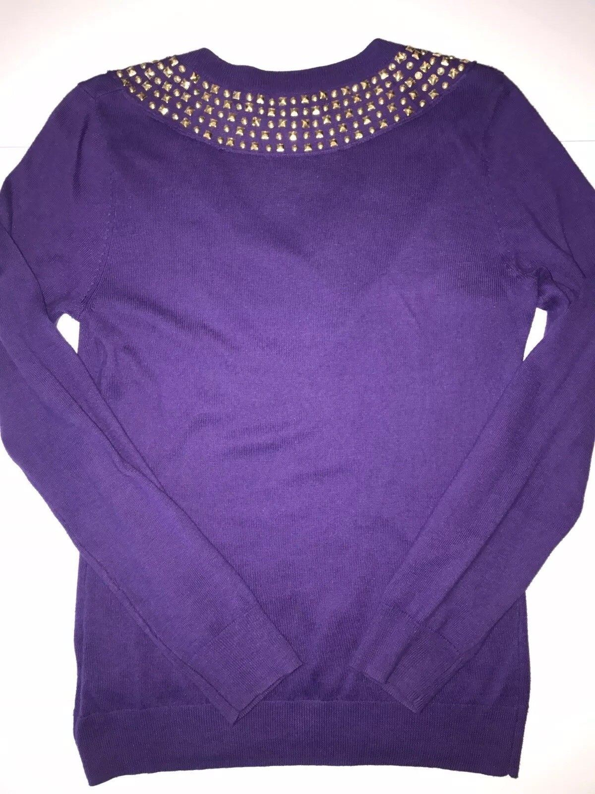Michael Kors Women's Long Sleeve Gold Studded  Purple Sweater Size XS