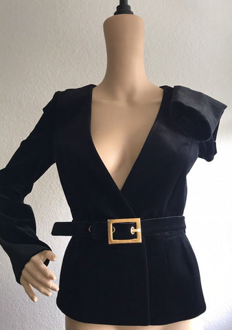 $1890 GUCCI Women's Black Stretch Velvet Jacket Blazer Size 2 (38 Euro) Italy