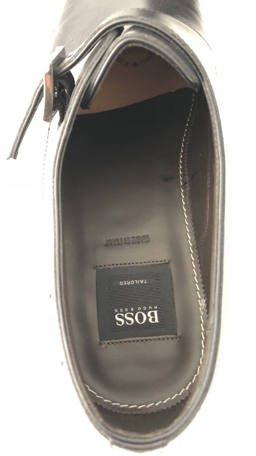 NIB $645 Boss Hugo Boss T-Legendio Tailored Mens Black Leather Shoes 7 US Italy