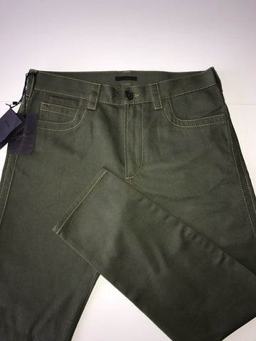 NWT $540 Prada Cotton Loose Fit Military Khaki Casual Mens Jeans Pants Size 33