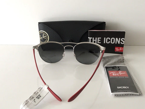NWB $188 Ray-Ban Sunglasses RB 3596 Black Red Frame Grey Silver Gradient Lenses