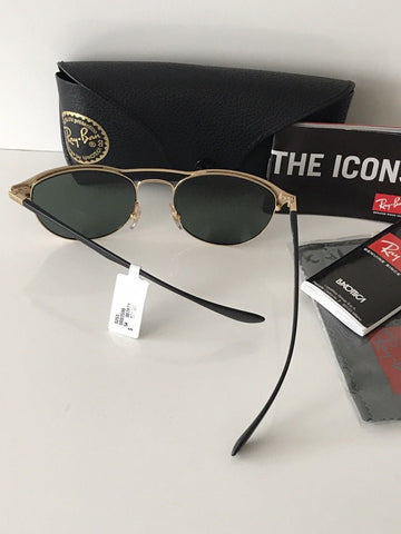 NWT Ray Ban Sunglasses RB 3596 9076/71 Gold Top on Matte Black Frame Green Lens