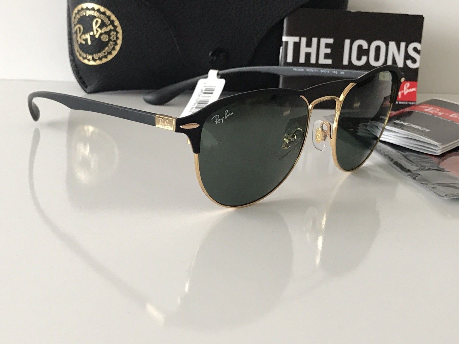 b8bcbed740 NWT Ray Ban Sunglasses RB 3596 9076 71 Gold Top on Matte Black Frame Green