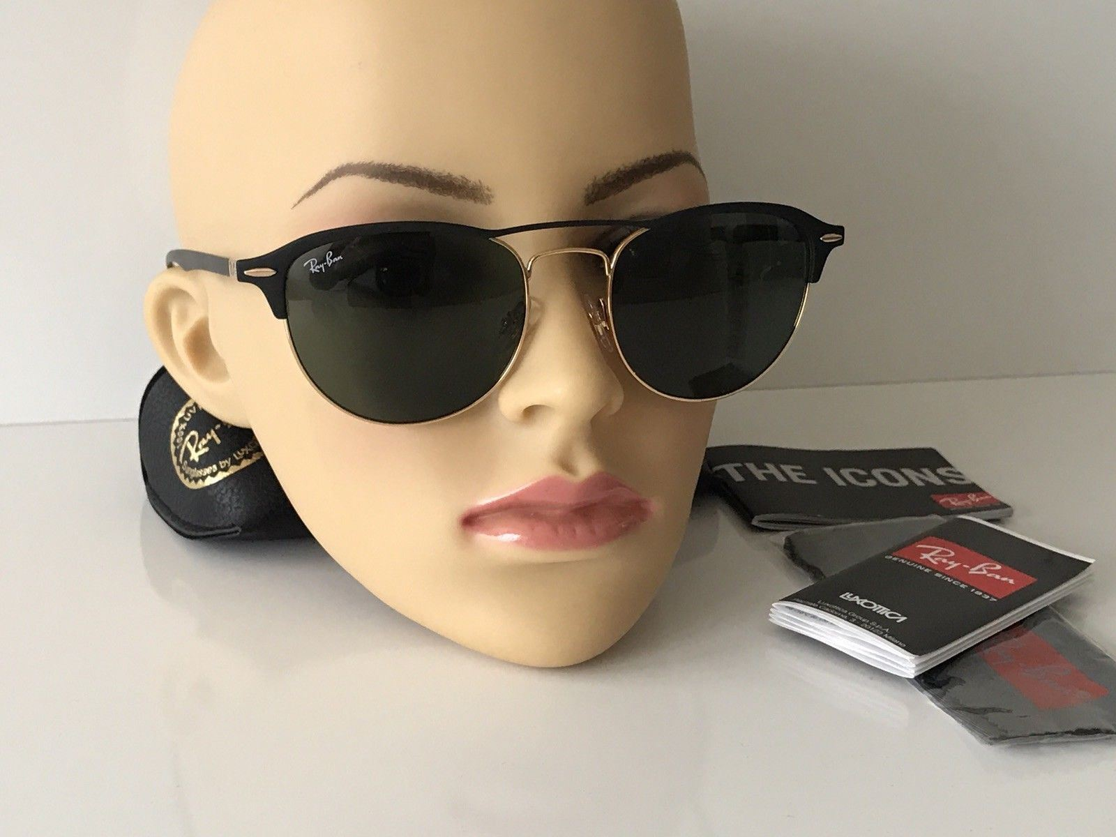 936fd20858c NWT Ray Ban Sunglasses RB 3596 9076 71 Gold Top on Matte Black Frame Green